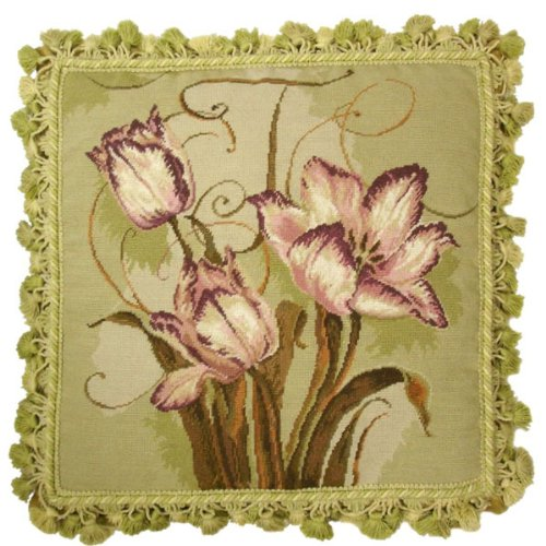 (Deluxe Pillows Tulips on Green - 18 by 18 in. needlepoint pillow)