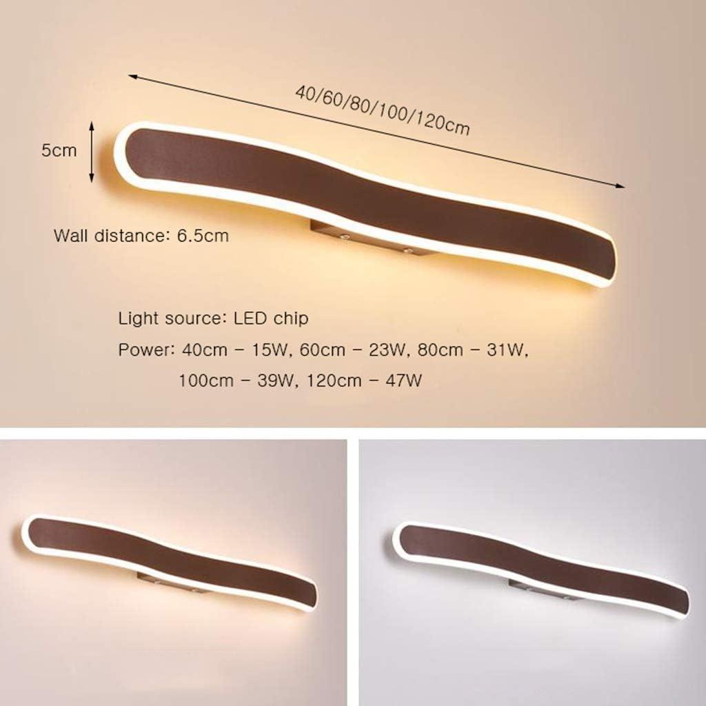 -Lámparas para el espejo del cuarto de baño Luz de espejo - Espejo LED creativo moderno con luz frontal marrón, acrílico de aluminio, tocador de baño Hotel - 40/60/80/100/120 cm *Iluminación para el b Three-color Dimming-40cm - 15w