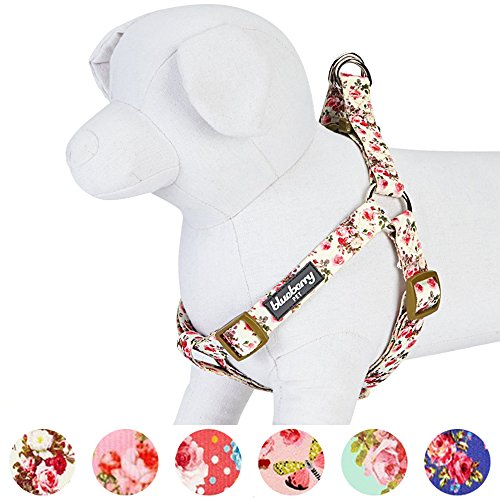 Blueberry Pet Step-in Spring Scent Inspired Pink Rose Print Ivory Dog Harness, Chest Girth 16.5