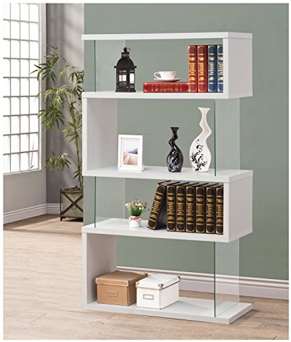 Bookcases Asymmetrical Snaking Bookshelf Glossy White
