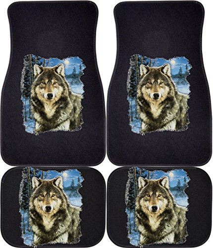 Wolf Car Mats - Winter Wolf (Black, Rears) Car and Truck Front and Rear Mats - Set of 4