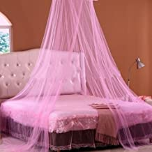 WYD Fashion Round Lace Bed Canopy Netting Curtain Dome Mosquito Net (pink)