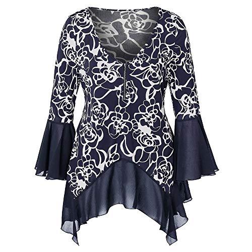KCatsy Plus Size Flower Print Half Zip High Low T-Shirt Dark Slate Blue