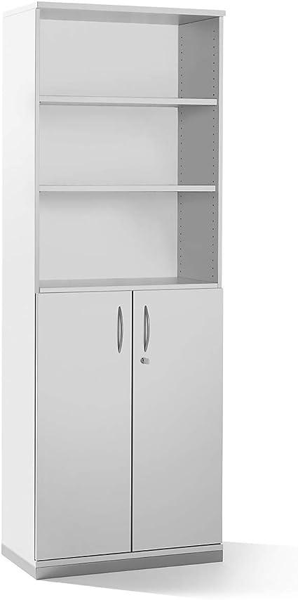 Armario – 5 estantes, 2 puertas inferior, color gris – Estantería Armarios Oficina Muebles Hanna Oficina Muebles programa