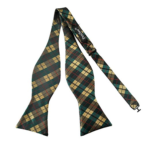 Multi Color Bow Tie (PenSee Mens Self Bow Tie Green & Multi-color Plaids Jacquard Woven Silk Bow Ties)