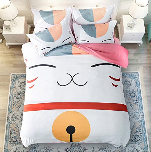 Price comparison product image Judy Dre am Home Textiles Anime Natsume's Book of Friends Bedding Sets Cartoon Cat Duvet Cover Set 3pcs Twin Size,Pink