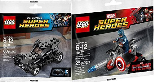 Lego Super Heroes Batman Batmobile (30446) + Captain America Motorcycle & Mini Figure (30447) DC Comics & Marvel