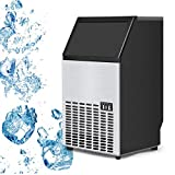 USzon Built-In Stainless Steel Commercial Ice Maker Portable Ice Machine Restaurant (Silver)