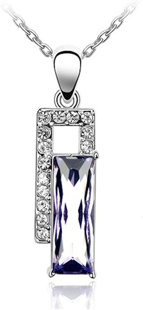 Sparkling Colored Baguette Cut and Clear Rectangles Charm Necklace