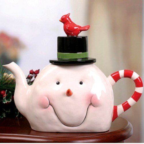 Handcrafted Christmas Snowman Teapot Ceramic