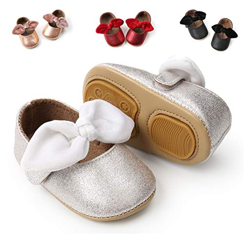 BENHERO Infant Toddler Baby Girls Mary Jane Slippers Soft Sole PU Leather No-Slip Princess First Walkers Shoes (11cm(0-6Months), G-Silvery)