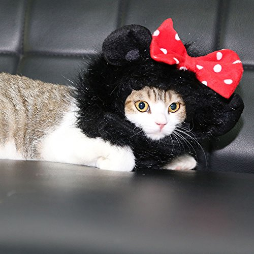 FAMI Pet Costume Panda Wig with Ears, Christmas Costumes Festival Party Clothes Fancy Dress up for Dog Cat -Black Color