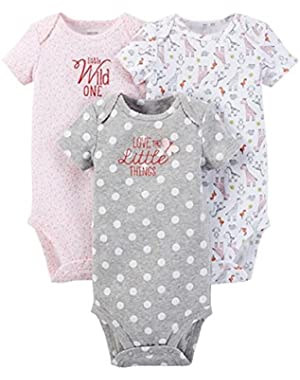 Just One You Baby Girls' Animals 3-Pack Bodysuit - Pink