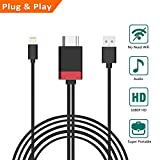 Lightning to HDMI Adapter, 6FT Lightning to HDMI 1080P HDTV Cable, Lightning Digital AV Adapter Cord for iPhone X 8 7 6Plus, iPad, iPod to TV Projector Monitor (Not Support Netflix)