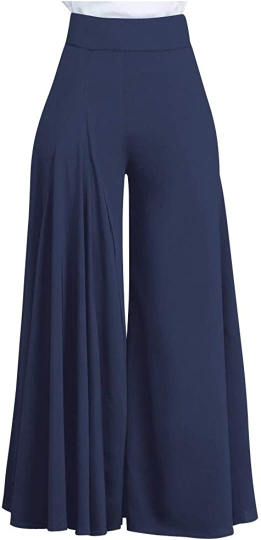 AngelSpace Women Elegant With Pocket Solid Color Ruched Fashion Wide Leg Palazzo Pants