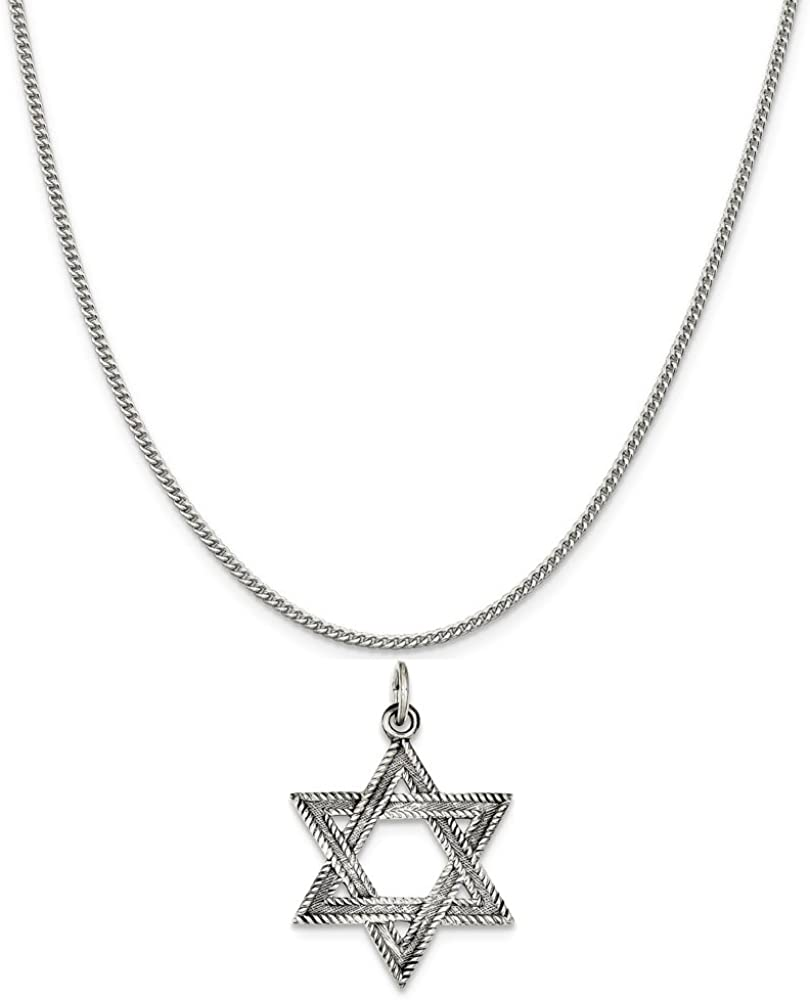 Mireval Sterling Silver Antiqued Star of David Charm on a Sterling Silver Chain Necklace 16-20