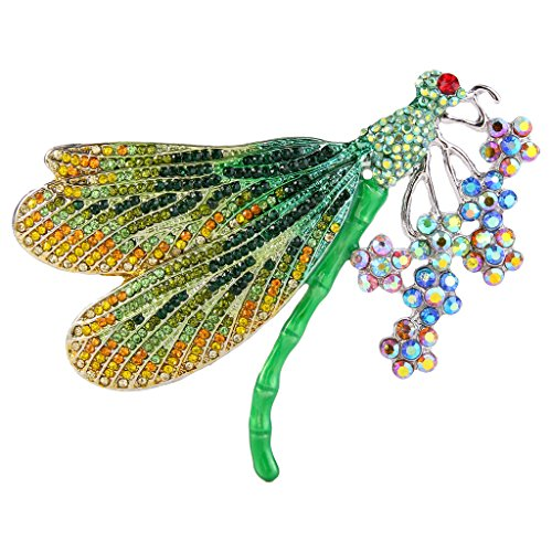 EVER FAITH Women's Austrian Crystal Enamel Colorful Bouquet Insect Dragonfly Brooch Green Silver-Tone