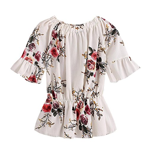 Fheaven Women Sexy Printing O Neck Shirt Chiffon Blouse Top Short Sleeve (XL, White) (Wings Juniors Tattoo T-shirt)