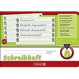 Schreibheft 0, A5 quer, 16 Blatt - Brunnen - 10-45 940 - Lineatur 0 / Nr. 0 - mit Kontrastlineatur, Untergrund grün