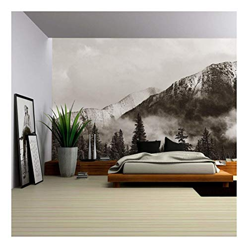 wall26 - Banff National Park View Panorama with Foggy Mountains and Forest in Canada. - Removable Wall Mural | Self-Adhesive Large Wallpaper - 100x144 inches ()