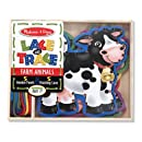 Melissa & Doug Lace and Trace Activity Set: 5 Wooden Panels and 5 Matching Laces - Farm