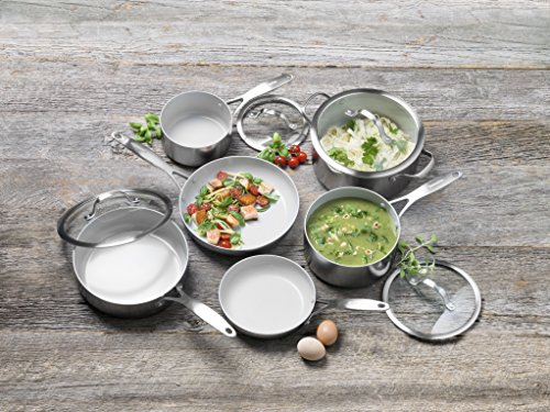 515tGtSfH L - GreenPan CC000018-001 Venice Pro Stainless Steel 100% Toxin-Free Healthy Ceramic Nonstick Metal Utensil safe Dishwasher/Oven Safe Cookware Set, 10-Piece, Light Grey