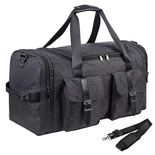 Large Travel Duffel Bag, Waterproof Weekender Bag with Shoe Compartment, Travel Overnight Carry On Bag for Men
