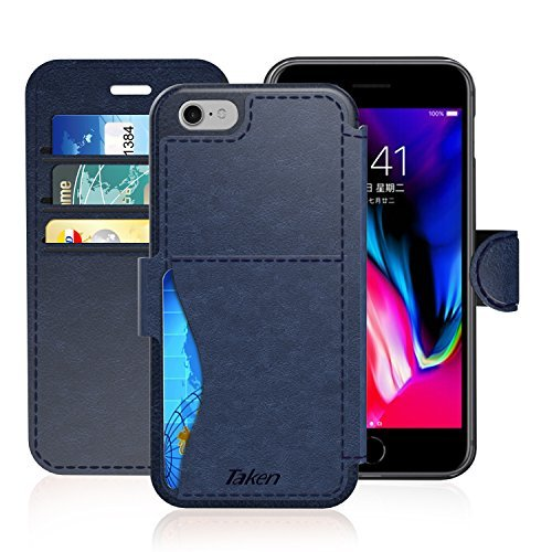 Taken iPhone 6/6S Plus Leather Wallet Case with Cards Slot and Metal Magnetic, Slim Fit and Heavy Duty, Plastic Flip Case/Cover with Rubber Edge, for Women, Men, Boys, Girls, 5.5 Inch (Blue)