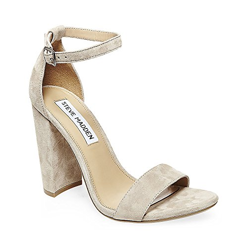 Steve Madden Women's Carrson Dress Sandal, Taupe Suede, 8.5 M US