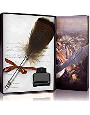 Feather Pens Writing Quill Pen with Ink set-Owl Feather Calligraphy Pen Set for Kids Beginners