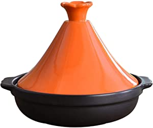 Moroccan Tagine Cooking Pot, Ceramic Steamer Braiser Pan, Classic Cookware, Multi purpose Use for Home Kitchen or Restaurant, diametro 26cm x h: 7.8cm / 2.1 Quart,Orange