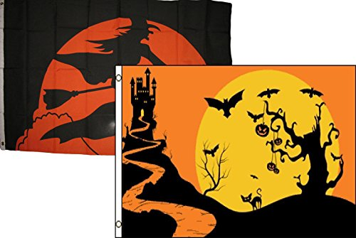Halloween Wayne Nj (ALBATROS 3 ft x 5 ft Happy Halloween 2 Pack Flag Set Combo #57 Banner Grommets for Home and Parades, Official Party, All Weather Indoors)