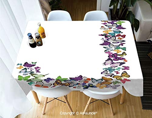 SUPHOME Letter J Polyester Personalized Printed Durable Tablecloth Alphabet and Nature Tropical Biological Monarch Collection of Wings Typeset ABC Decorative for Dining Room Picnic Party