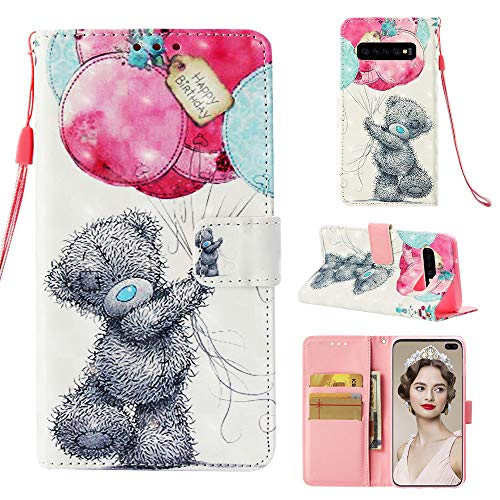 MerKuyom for [S10+], Galaxy S10 Plus - Case, [Wrist Strap] [Kickstand] Premium PU Leather Wallet Pouch Flap Flip Cover Case + Stylus for Samsung Galaxy S10 Plus [6.4-inch] (3D Cute Bear Balloons)
