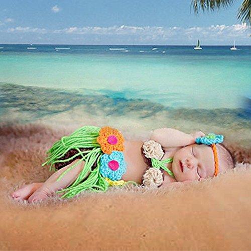 Crotchet Baby Girl Grass Hula Skirt Outfit Set Newborn Photo Prop Infant Hawaiian Hula Hoop