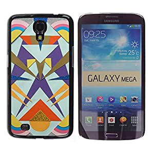 For Samsung Galaxy Mega 6.3 / I9200 / SGH-i527 Case , Totem Lines Gold Pattern Polygon - Diseño Patrón Teléfono Caso Cubierta Case Bumper Duro Protección Case Cover Funda