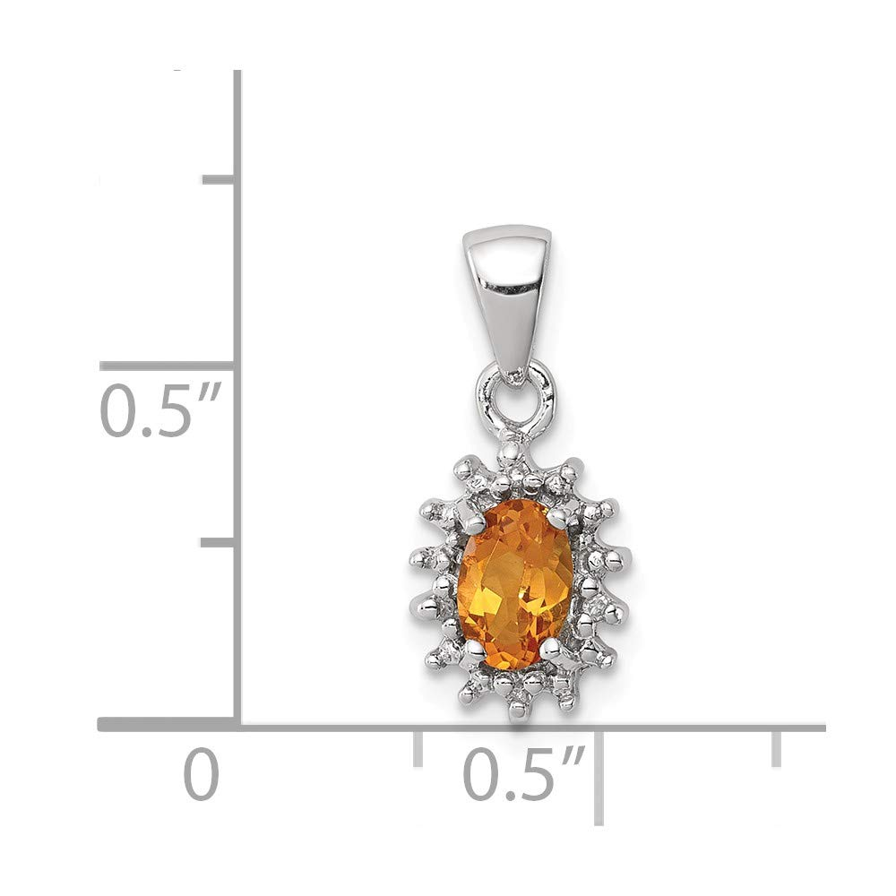Sterling Silver Citrine and Diamond Charm Pendant