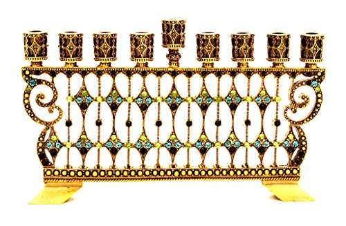 Pewter Menorah Decorative - Decorative Menorah Jeweled Swarovski Crystal Aqua and Peridot Antique Brass Plating