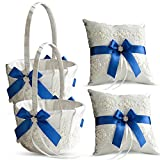 Roman Store Ivory Ring Bearer Pillow and Basket Set   Lace Collection   Flower Girl & Welcome Basket for Guest   Handmade Wedding Baskets & Pillows (Royal Blue)