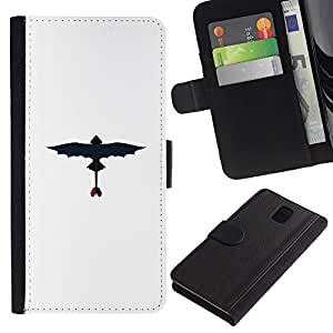 """A-type (Dragon volador"""") Colorida Impresión Funda Cuero Monedero Caja Bolsa Cubierta Caja Piel Card Slots Para Samsung Galaxy Note 3 III"""