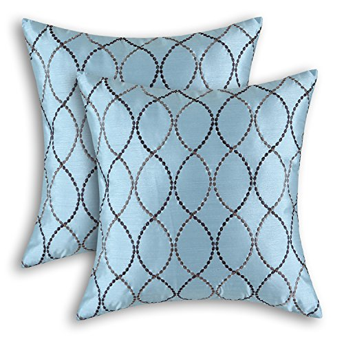 CaliTime Pack of 2 Cushion Covers Throw Pillow Cases Shells for Home Sofa Couch Modern Waves Lines Embroidered 18 X 18 Inches Light Blue ()