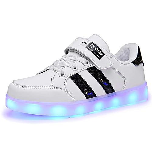 Kauson LED Zapatos Verano Ligero Transpirable Impermeable Bajo 7 Colores USB Carga Luminosas Parpadeo Deporte de
