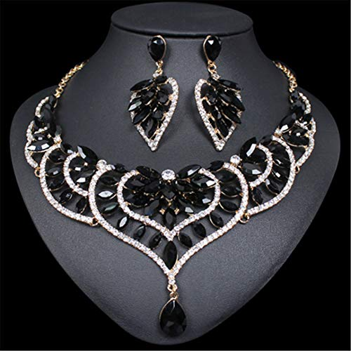 Fashion Crystal Statement Necklace & Earrings Sets Indian Wedding Party Costume Jewelry Sets For Brides Bridesmaid Women Gifts black -