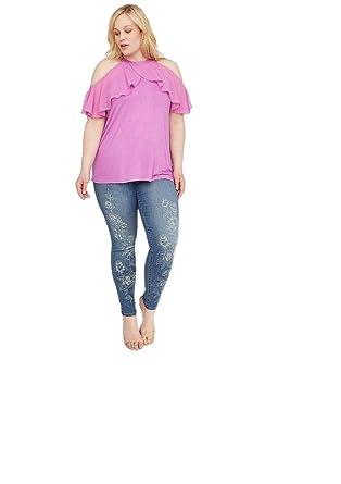 de1d46d016ef64 Lane Bryant Pink Halter Ruffle Top at Amazon Women's Clothing store: