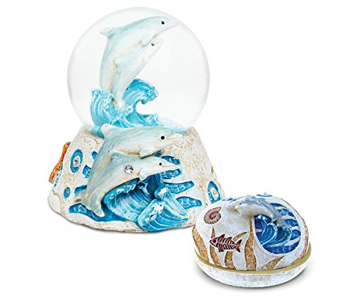 (Puzzled Dolphin Resin Stone Collection Jewelry Box and Snow Globe - Unique Elegant Gift and Souvenir)