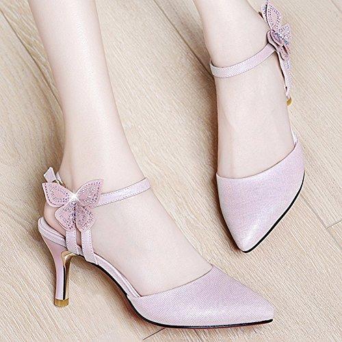 La Fine Eu36 Pink Tacón Tamaño Bowknot Yixiny De Profundo 5 Color uk3 Del  Imitación Alto 1469 Y cn35 Sra Talón Verano Poco Boca Primavera Moda Zapatos  ... 723f4d4ef0d6