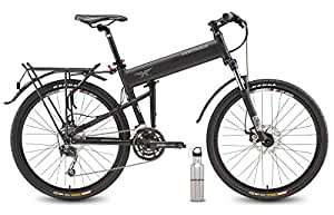 """Montague Paratrooper Pro Folding Mountain Bike 18"""" Frame, 27 Speeds with Safecastle Stainless Steel Water Bottle- New Model"""