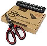 red and white butcher paper - Heavy Duty Red Kitchen Shears - Multi Purpose Scissors Best for: Poultry, Fish, Seafood, Herbs, Vegetables, Meat and BBQ - Magnetic Bar included.