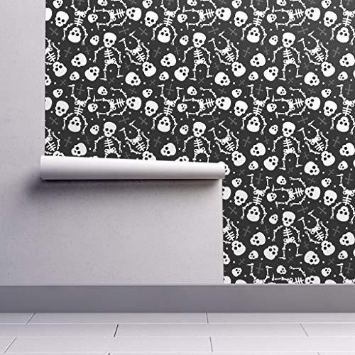 Skull Wallpaper Roll - Halloween Skeleton Dia De Muerte Scary Spooky Horror by Littlesmilemakers - 1 Roll 24in x 27ft]()