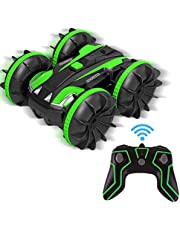 Amphibious remote control car-Christmas toy gift, 2.4GHz waterproof off-road truck all-terrain 4WD electric double-sided remote control 360° flip stunt boat, suitable for 6-10years boys and girls gifts
